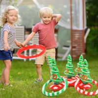 Christmas Tree Throwing Ring Toss Game Inflatable Ring Toss Game for Kids Adults