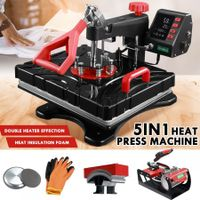 5 In 1 Heat Press Machine Swivel Multifunctional T-Shirt Heat Transfer with LCD Display