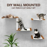 Luxury Wall Mounted Cat Shelves Cat Tree Multi-Level Wooden Cat Perches