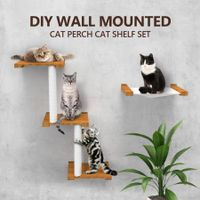 Deluxe Floating Cat Perches Cat Tree Multi-Level Shelves Wall Mount Cat Furniture