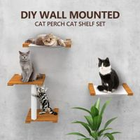 Wood Cat Wall Shelf Set Wall-Mounted Cat Perch Cat Hammock Scratching Post