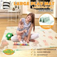 200cmx180cm 10mm Thick Reversible Baby Play Mat Kids Activity Gym Center