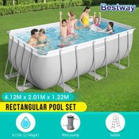 Bestway Rectangular Above Ground Swimming Pool Portable Backyard Pool with Pump