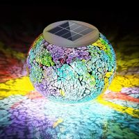 Color Changing Mosaic Solar Light, Multi-colored Waterproof/Weatherproof Crystal Glass Globe Ball Light