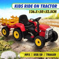12V Electric Kids Ride On Tractor and Trailer Farm Toy Tractor Set