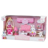 MINI Rabbit Home Feature Playset Pretend Play Toy Gifts