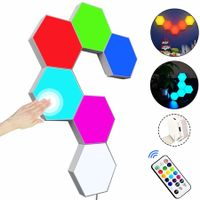 Remote Control DIY Hexagon LED Wall Light Smart Wall-Mounted Touch-Sensitive Colorful Light 6PCS