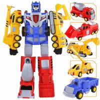 5-in-1 Construction Vehicles -Transform into Robot Action Figures, Assemble into Giant Pull-Back Truck