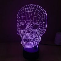 3D Lllusion Skull Light LED Lamp With 7 Color Light