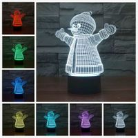 Christmas Snowman 3D Lamp Atmosphere Light as Home Decoration