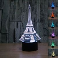 3D illusion Eiffel Tower Bedroom Night color change LED lamp