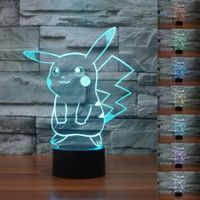 3D Cute Pikachu Illusion Night Light 7 Color Change LED table Lamp