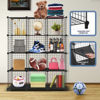 DIY Metal Wire Cube Storage 12 Cubes Modular Storage Shelf Closet Black