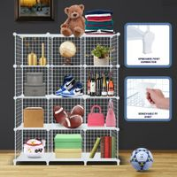 12 Cube Metal Wire Storage Shelf Modular Organizer DIY Storage Rack White