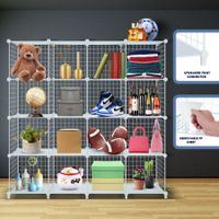 16 Cubes Wire Storage Shelf Cabinet DIY Metal Modular Organizer Rack White