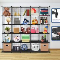Metal Wire 25-Cube Storage Grid Organizer DIY Modular Cabinet for Toys Books Clothes Black