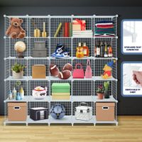 25 Cubes Grid Wire Storage Shelf Cabinet DIY Metal Modular Organizer Rack White