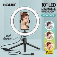 10 Inch LED Ring Light Selfie Ring Light with Desktop Stand for Live Video Photography