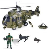 Friction Powered Realistic Military Vehicle kid toy Car 6-piece-set Including  Helicopter, Army Action Figures
