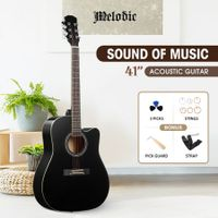 Melodic 41 Inch Handcrafted Acoustic Guitar Steel String Black