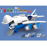 Large Airplane Toy with 6 6 Police Cars Set for 3 Year Old Kids
