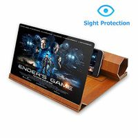 12 Inch Foldable Smart Phone Screen Amplifier Projector  Wooden Phone Holder Stand with 3D Screen Magnifying Amplifying Glass