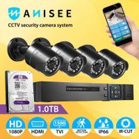 Anisee 4x 1080P HD Wifi Security CCTV Camera Surveillance System Set 4CH DVR 1T