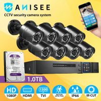 Anisee 8x 1080P HD Wifi Security CCTV Camera Surveillance System Set 8CH DVR 1T