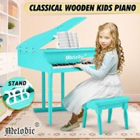 Melodic 30 Keys Classic Kids Piano Wooden Baby Grand Piano with Bench Green