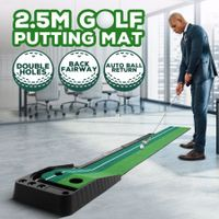 2.5M Golf Putting Mat Indoor Putting Greens Golf Practice Mat with Auto Ball Return