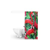 180x200cm Flamingo Print Waterproof Bathroom Shower Crutain with 12 Hooks