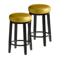 2x Levede 75cm Swivel Bar Stool Kitchen Stool Wood Barstool Dining Chair Citrine