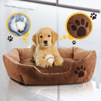 Soft Round Faux Suede Medium M Pet Bed with Paw Print Design - Brown