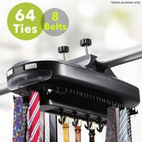 Electronic Revolving Tie & Belt Closet Rack with LED Light