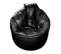 Synthetic Leather Bean Bag Chair Cover - Black
