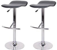 2x Bar Stool Euro Design Kitchen Chair Gas Lift - Black