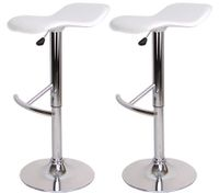 2x Bar Stool Euro Design Kitchen Chair Gas Lift - White