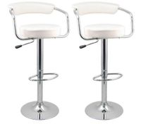 2 x Designer Bar Stool Kitchen Chair Gas Lift - White