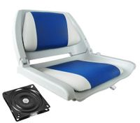 Folding Swivel Boat Seat - Gray/Blue