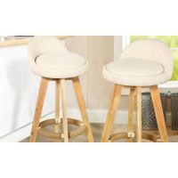 2x Levede Fabric Swivel Bar Stool Kitchen Stool Dining Chair Barstools Cream