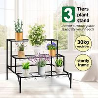 Vintage 3-Tier Plant Stand Metal Flower Pots Display Shelf for Garden Patio Yard