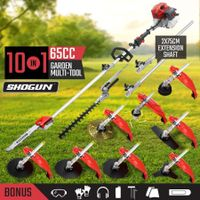 10 In 1 65CC Garden Multi Tool Hedge Trimmer Whipper Snipper Pole Chainsaw Brush Cutter