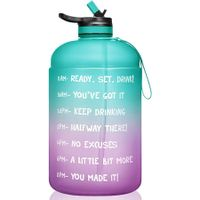 1 Gallon/128oz Motivational Water Bottle with Time Marker And Straw BPA Free