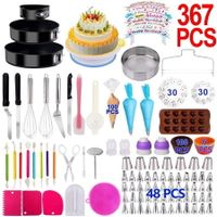367PCS Baking Set with Springform Cake Pans Set Rotating Turntable,Cake Decorating Kits, Muffin Cup Mold