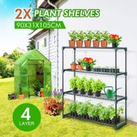 2x 4 Tier Plant Shelves Greenhouse Supplies Plant Stand Metal Shelving