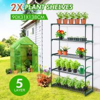 2x 5 Tier Plant Shelves Greenhouse Supplies Plant Stand Metal Shelving
