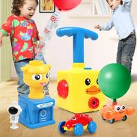 DUCK Balloon Powered Launch Car,Balloon Air Inflator Hand Push Air Power Balloon Racer Vehicle Car Toy (Duckling)
