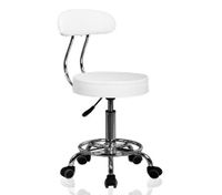 White Salon Stool w/Backrest