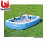 BESTWAY Blue Rectangular Large Inflatable Outdoor Family Pool - 305cm x 183cm x 56cm