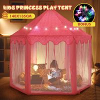 Kids Princess Castle Play Tent Hexagonal Play House Outdoor Indoor Playhouse Pink